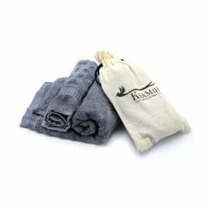 KSAMAH Eco-Friendly Bamboo Gym Towel & Hand Towel - Grey Color
