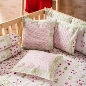 Baby Bedding Set- Green Flower