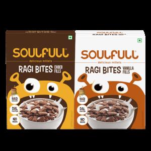 Soulfull Ragi Bites, Choco Fills (500g) & Vanilla Fills (250g*2 Pack) - No Maida, High Calcium, 1kg