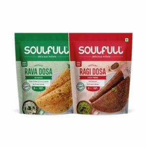 Soulfull No Maida Rava Dosa Mix & High Fibre Ragi Dosa Mix - 500g (Pack of 2)