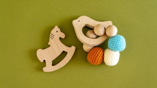 Wooden teether cum rattle - Bird & Horse