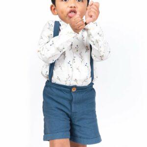 Julius White Suspender Shorts