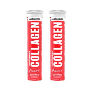 YourHappy Collagen Fizz l 1500 mg Marine Collagen, Hyaluronic Acid, Resveratrol, Selenium, Biotin, Vitamin C & E, l Passion fruit - Pack of 2