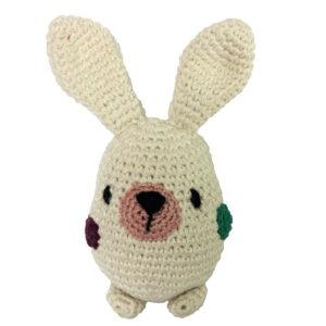 Plumtales Handcrafted Amigurumi Bunny Rattle( white, 15cm)