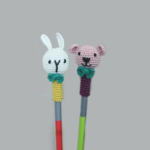 Plumtales Handcrafted Amigurumi Random Color Pencil Topper - 2 Bunny + 2 Bear combo( Random, 8x3cm) Set of 4