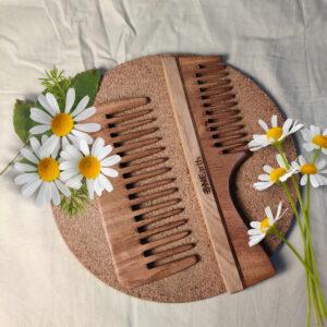 Organic Wooden Neem Comb (Detangling Shower Comb + Handle Comb )