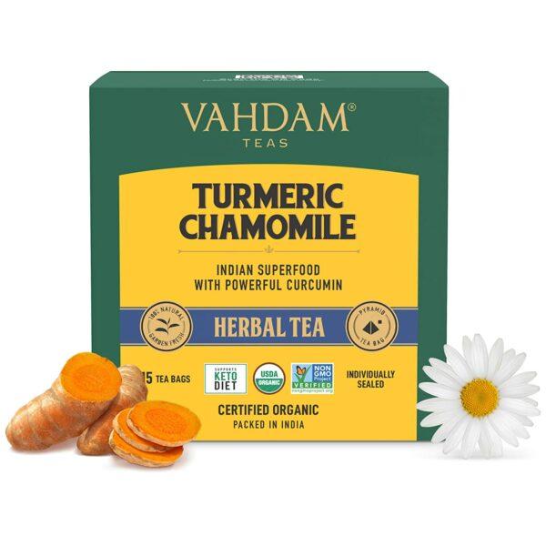 Turmeric Chamomile Tea- 15 Tea Bags | Active Turmeric + Chamomile Flowers | 15 Single Serves- Brew Hot or Cold | 100% Natural Herbal Tea | Flowering Tea