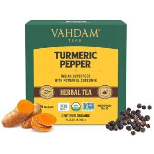 Turmeric Pepper Herbal Tea- 15 Tea Bags | 100% Natural Ingredients | Health Benefits of Active Turmeric + Pepper + Cardamom + Cloves | Low Caffeine Herbal Detox Tea Blend | Anti-Inflammatory