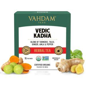 Ayurvedic Kadha Tea | Ayush Kadha Powder | Grandma's Kadha with Tulsi, Amla, Turmeric, Ginger, Black Pepper, Fennel, Cumin and Cloves - 15 Herbal Tea Bags
