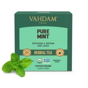 Pure Mint Herbal Tea Bags |100% Natural Mint Tea - Spearmint Tea (70%) + Peppermint Tea (30%) | Refreshing & Relaxing | 15 Pyramid Tea Bags