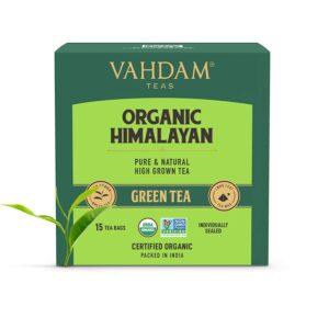 Organic Green Tea Leaves from Himalayas (15 Tea Bags), 100% Natural Weight Loss Tea, Detox Tea, Slimming Tea, ANTI-OXIDANTS RICH - Green Tea Loose Leaf - Brew Hot or Iced