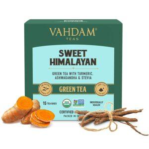 Detox Green Tea | 15 Green Tea Bags of Ashwagandha Tea with Shatavari mix | VAHDAM Assurance- 100% Non Bitter Immunity builder Organic Green Tea