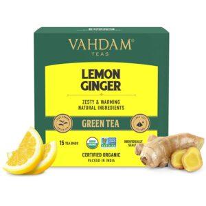 Ginger Lemon Green Tea -15 Green Tea Bags | 100% Natural | Lemon Tea - Rich in Vitamin C | Certified Organic Detox Tea Aids Weight Loss