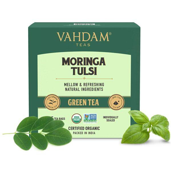 Moringa Tulsi Green Tea- 15 Tea Bags   100% Natural Ingredients   Health Benefits of Moringa + Basil   Pure & Refreshing Herbal Green Tea Blend   Better Infusion   Superfood Medicinal Tea