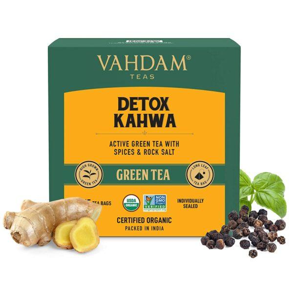 Detox Kahwa Green Tea- 15 Tea Bags | Real Ingredients (Black Pepper, Tulsi, Ginger, Clove, and Green Tea), Certified Organic Ayurvedic Kahwa