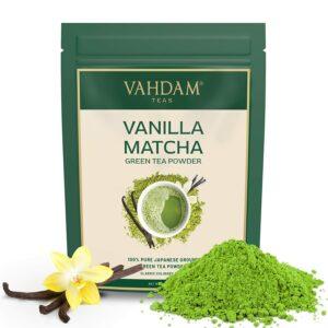 Vanilla + Matcha Green Tea Powder (25 Cups) - Brew Delicious Vanilla Matcha Latte | Powerful SUPERFOODS Blend | Japanese Matcha Powder with 100% Natural Vanilla | 137x Anti-OXIDANTS, 50g