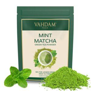 Mint + Matcha Green Tea Powder (25 Servings) - Brew Delicious Mint Matcha Latte | Powerful SUPERFOODS Blend | Pure Japanese Matcha Powder with 100% Natural Mint 137x Anti-OXIDANTS, 50g