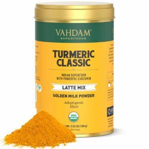 Organic Turmeric Tea | Classic Latte, 40 Cups (100 GMS) | USDA Organic Certified Golden Milk Powder with Powerful Curcumin | Turmeric Latte Mix | Turmeric Tea | Brew Hot, Iced or Latte