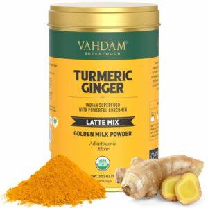 Organic Turmeric + Ginger Tea   40 Cups - 100 GMS   USDA Organic Certified Golden Milk Powder with Powerful Curcumin   Turmeric Powder + Ginger