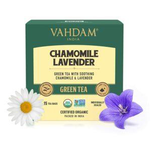 Chamomile Green tea with Pure Lavender flowers | Best Taste chamomile combo for tea lovers | Tasty Detox option | 15 Green tea bags