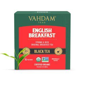 English Breakfast Tea (15 Black Tea Bags) | HIGH Energy & Caffeine - Healthy Coffee Replacement | Strong, Robust & Flavoury Black Tea Bags | Brew Hot, Iced, Kombucha Tea, Milk Tea | ANTIOXIDANTS Rich