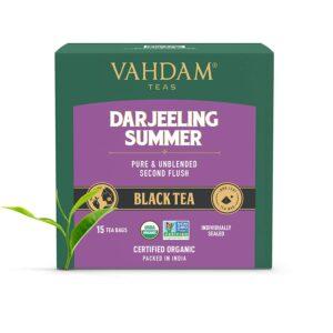 Darjeeling Black Tea from Himalayas (15 Tea Bags) | Medium Caffeine, High Energy Tea | 100% Certified Pure Unblended Darjeeling Tea Bags from India | Brew Hot, Iced or Kombucha Tea