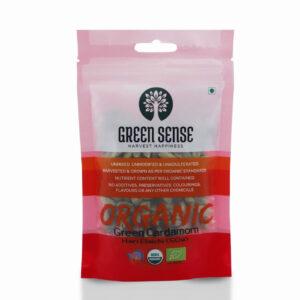 Green Sense Organic Green Cardamom (Hari Elaichi) - 100g