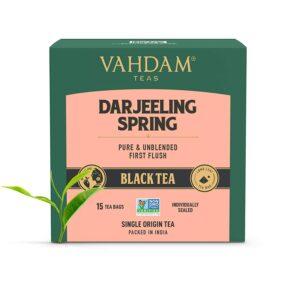 Exotic Darjeeling First Flush Tea Leaves,15 Tea Bag, Long Leaf Pyramid Darjeeling Tea Bags, Aromatic & Flowery, 100% Pure Unblended First Flush Darjeeling Tea