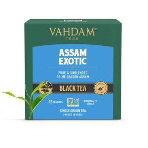 Assam Black Tea (15 Tea Bags) - Long Leaf Assam Tea Bags - RICH & MALTY - Breakfast Tea Bags, FTGFOP1 Grade, 100% Certified Pure Unblended Assam Tea Loose Leaf - 15 Pyramid Tea Bags