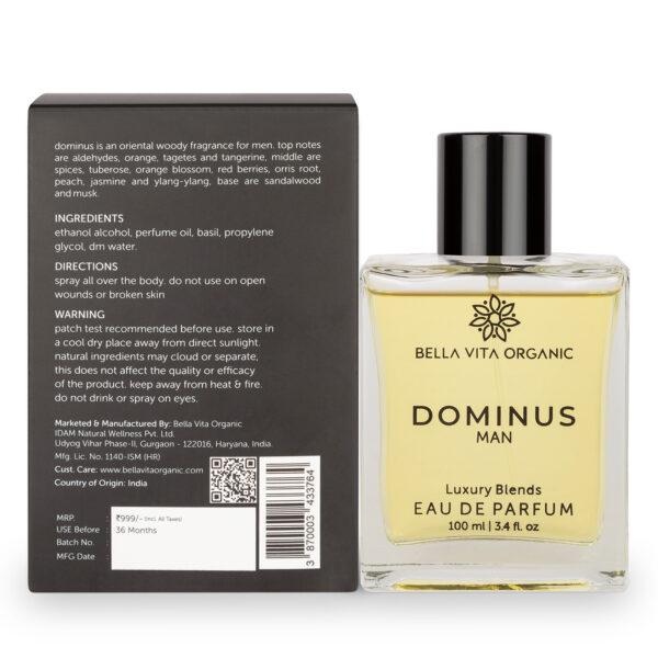 Bella Vita Organic Dominus EDP Strong Perfume For Men with Long Lasting Woody Fragrance - 100 ml