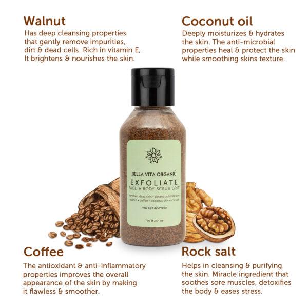 Bella Vita Organic Exfoliate Face and Body Scrub Grit, Skin Brightening, De-Tan Removal - 75 gm