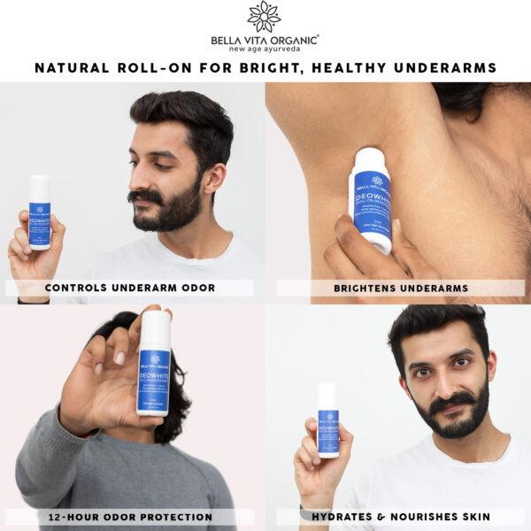 Bella Vita Organic DeoWhite Under Arm Skin Whitening Natural Roll On Deodorant For Men - 75 ml