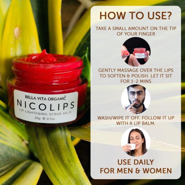 Bella Vita Organic NicoLips Lip Lightening Scrub For Dark, Dry, Chapped & Damaged Lips Unisex - 20 gm
