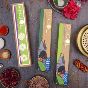 Phool Devotion Combo Pack - Natural Incense Sticks Tulsi & Loban