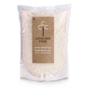 Conscious Food Khapli Atta (Emmer Wheat Flour ) 1kg, Natural Chakki-Ground Atta