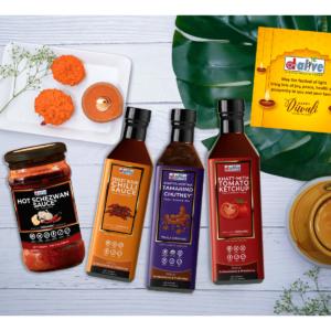 D-Alive Organic Super Food Sauces Festive/Diwali Hamper (No Sugar, Vegan, 100% Natural & Diabetes Friendly)- Diwali Greeting card + Hand Made Diya. Handled with Hygiene & Care