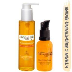 Natural Vibes ~ Ayurvedic Vitamin C Brightening Skin Care Regime with 1 Vitamin C Face Wash 120 ml and 1 Vitamin C Face Serum 30 ml