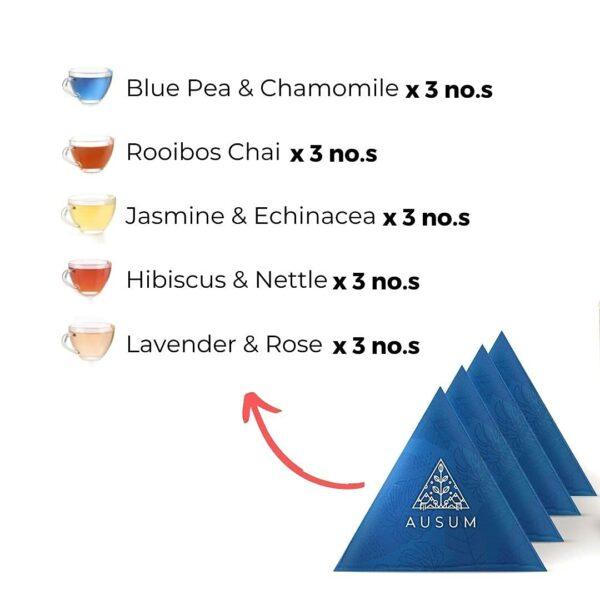 Ausum Tea Herbal Teas Taster Pack (15 Teabags) - All Natural Herbal Tea Assorted variants - Immunity Builders