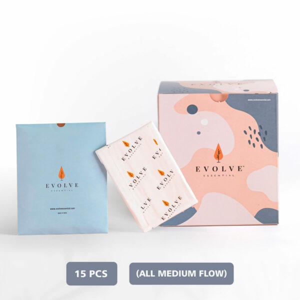Evolve Essential Rash-free Eco-safe Sanitary Napkin Pack of 15 (All Medium Flow)