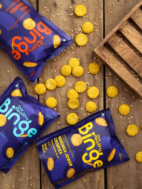 The Healthy Binge   Baked snacks   Assorted pack of Ragi, Jowar & Moringa crispies