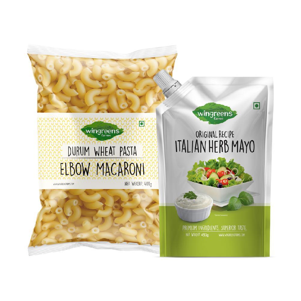 Durum Wheat Pasta – Elbow Macaroni (500g) with Italian Herb Mayo (450g)