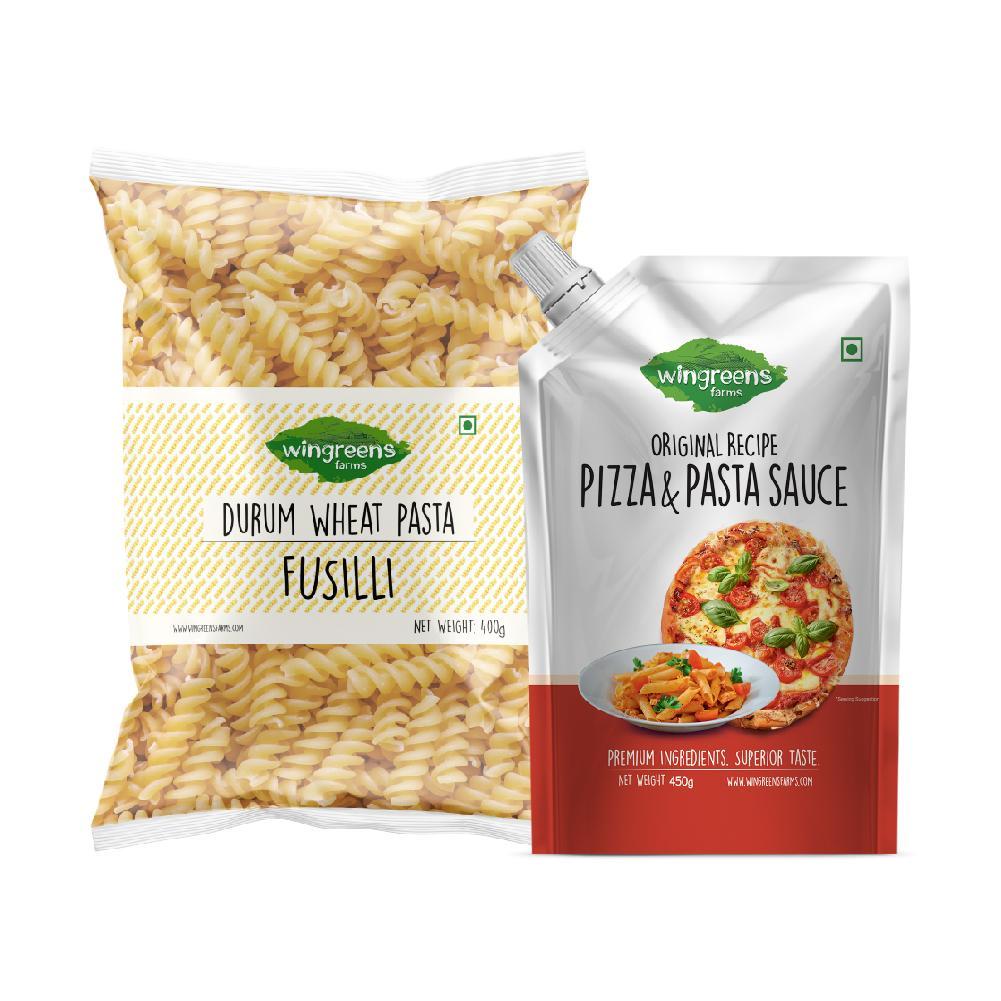 Durum Wheat Pasta - Fusilli (400g) with Pizza Pasta Sauce (450g)