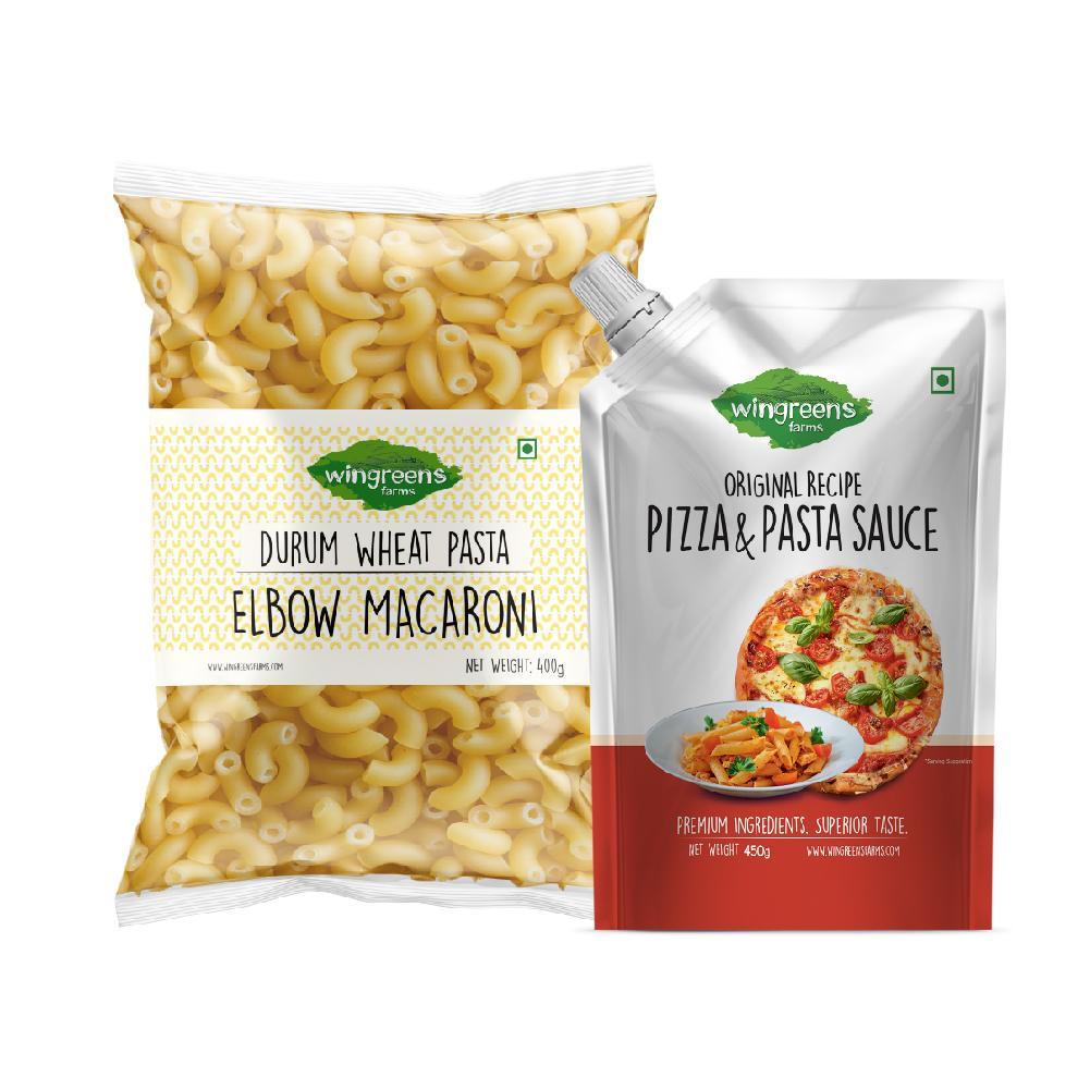 Durum Wheat Pasta - Elbow Macaroni (400g) with Pizza Pasta Sauce (450g)