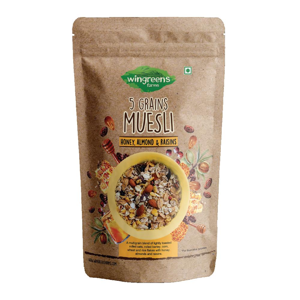 5-Grains Muesli – Honey Almonds & Raisins (400g)