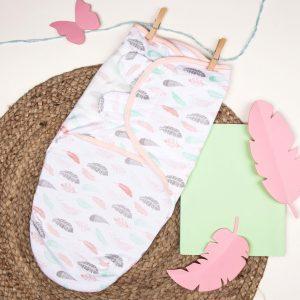 Kicks & Crawl- Pink Leaves Velcro Ready Swaddle