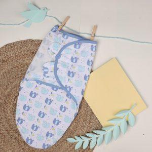 Kicks & Crawl- Blue Elephants Velcro Ready Swaddle