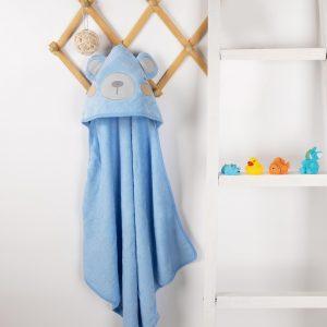 Kicks & Crawl- Blue Bear Hooded Towel