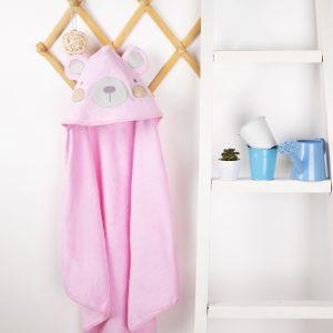 Kicks & Crawl- Pink Bear Hooded Towel
