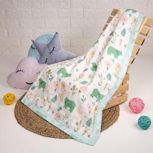 Kicks & Crawl- Baby Bear Quilted Muslin Blanket
