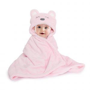 Kicks & Crawl- Pink Hooded Fur Blanket